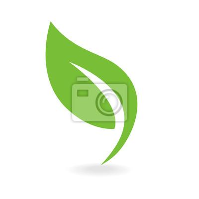 Sticker Eco icon green leaf