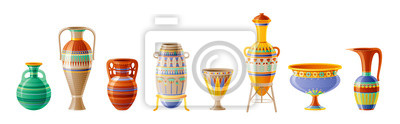 Sticker Egyptian crockery icon set. Vase, pot, amphora, jug. Old geometric floral ornament decoration from ancient Egypt clay art craft. Cartoon 3d realistic, vector illustration isolated on white background