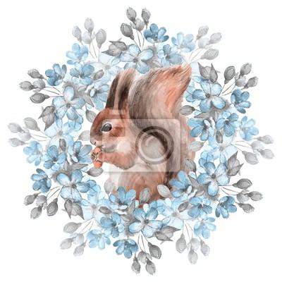 Eichhörnchen und blaue Blumen. Aquarellabbildung. Isoliert auf weißem Hintergrund