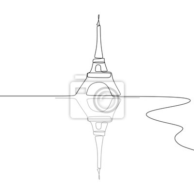 Eiffel Tower Black and white single one line drawing vector illustration