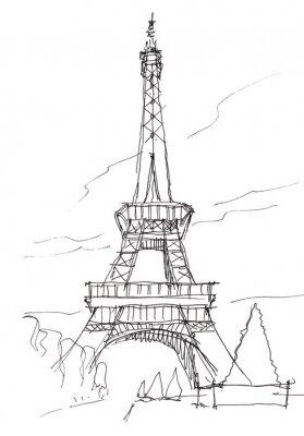 Sticker eiffel tower hand pen doodle sketch