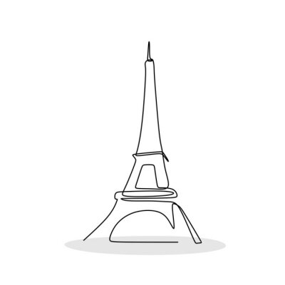 Eiffel tower in Paris one line drawing vector illustration