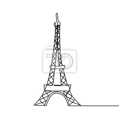 Eiffel tower one line drawing