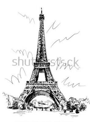 Sticker Eiffelturm gezeichnet durch Stift und Spurverfolgung, Bildverfolgung, eigenhändig zeichnen, Paris, Frankreich.