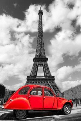 Sticker Eiffelturm mit roten altes Auto in Paris, Frankreich