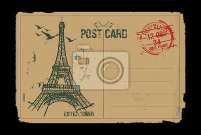 Eiffelturm. Paris, Frankreich Postkarte Design. Hand gezeichnete Illustration.
