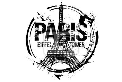 Eiffelturm. Paris, Frankreich Stadt Design. Hand gezeichnete Illustration.