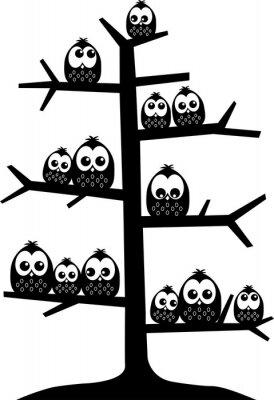 Sticker Ein Baum voller Eulen