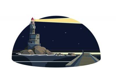 Sticker Ein Mann in der Seawall suchen einen Leuchtturm Blitz in der Nacht