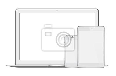 Ein Satz realistische Laptop-, Tabletten- und Telefonillustrationen