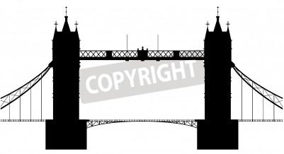 Ein Schattenbild der London Tower Bridge über einen weißen Hintergrund