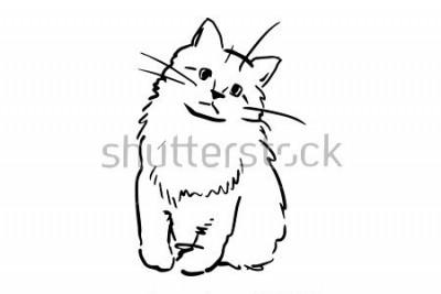 Sticker Ein sitzendes Kätzchen. Schwarzweiss-Vektorskizze. Einfaches Zeichnen am weißen Hintergrund.