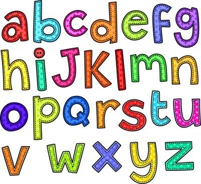 Sticker Ein Stich Stil doodle Set von Hand gezeichnet Buchstaben des Alphabets.