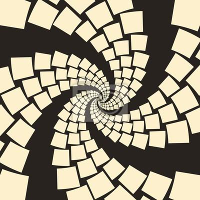 Sticker Ein Strudel von fliegenden Papieren, oder kräuseln Reptilien Schwänze, in einem zweifarbigen Elfenbein und schwarz Palette
