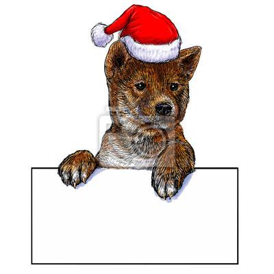 Ein welpe weihnachten auf weißem hintergrund vektor-illustration ...