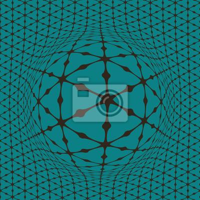 Sticker Eine auftauchende Kugel aus einem Dreieckmusterplan, optische Täuschung einer Oberflächenverzerrung in Blau und Schokoladenbraun