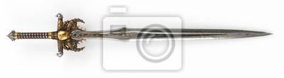 Sticker Eine Fantasy lange Schwert, mit einem Schädel und Gold auf einem isolierten weißen Hintergrund. 3d darstellung