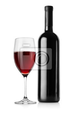 Eine Flasche Rotwein und Weinglas
