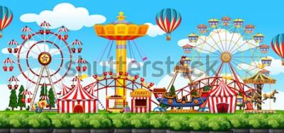 Sticker Eine Freizeitpark-Szenenillustration