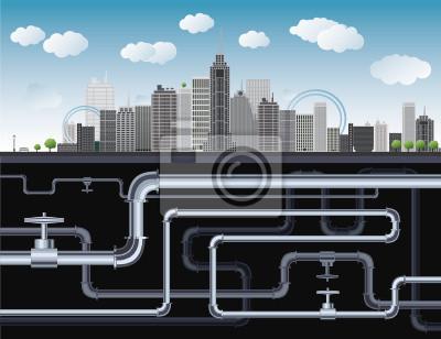 Eine imaginäre Großstadt mit Wolkenkratzern, blauer Himmel, Bäume und Rohre