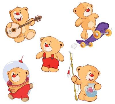 Sticker Eine Reihe von Bären Cartoon