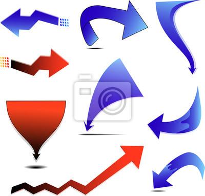 Eine Reihe von blauen und roten Pfeil mit vielen Design-