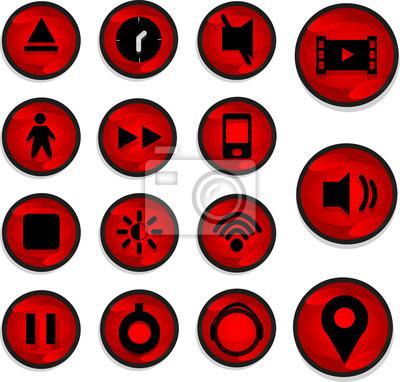 Eine Reihe von Symbol mit roter Farbe und Design