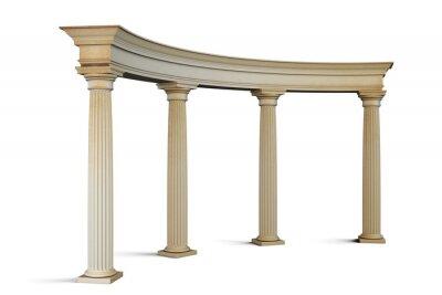 Sticker Eingangsgruppe mit Säulen im klassischen Stil auf einem weißen. 3