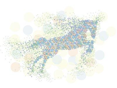 Sticker Einhorn-Pferd im Wind fliegen auf weißem Hintergrund