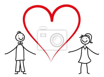 Sticker Einladung Zur Hochzeit   Verliebtes Paar Mit Herz