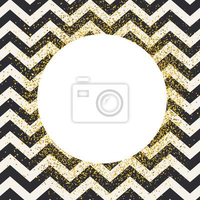 Einladungskartenentwurfsschablone. Chevron nahtlose Muster und weißen Kreis geformt copyspace mit goldenen chaotischen Punkte.