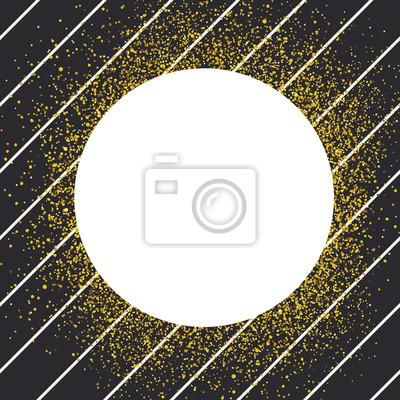 Einladungskartenentwurfsschablone. Diagonale schwarze Linien Muster und weißen Kreis geformt copyspace mit goldenen chaotischen Punkte.