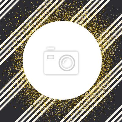 Einladungskartenentwurfsschablone. Diagonale weiße Linien nahtlose Muster und weißen Kreis geformt copyspace mit goldenen chaotischen Punkte.