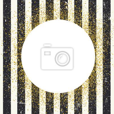 Einladungskartenentwurfsschablone. Vertikale im Alter von schwarzen Linien nahtlose Muster und weißen Kreis geformt copyspace mit goldenen chaotischen Punkte.