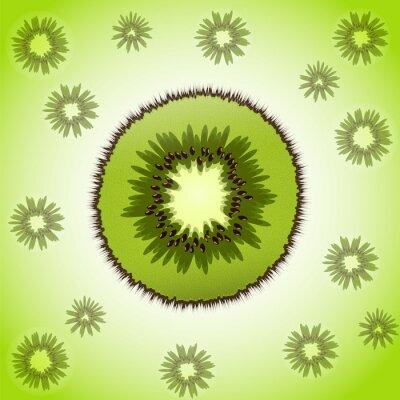 Sticker Einzelstück von Kiwi auf dem Obst-Hintergrund