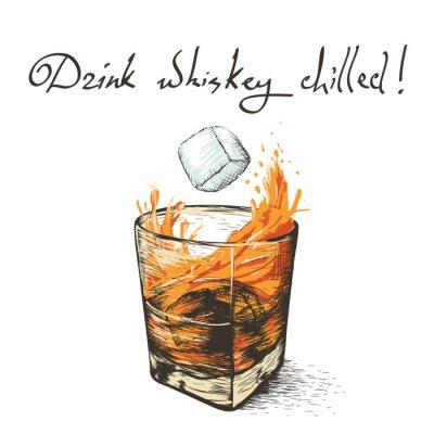Sticker Eis fällt in Whisky