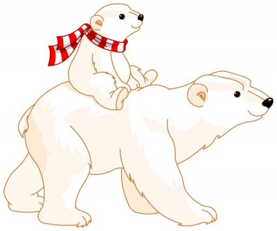 Sticker Eisbär Mama und Baby