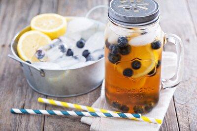Sticker Eistee mit Zitrone und Blaubeeren