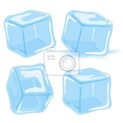 Sticker Eiswürfel und geschmolzen Eiswürfel Vektor-Set auf weißem Hintergrund.