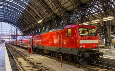 Sticker Electric locomotive with regional train in Frankfurt, Germany