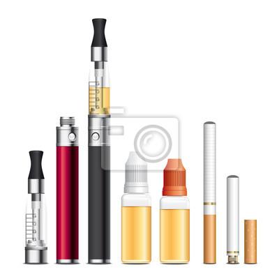 électronique Zigarette, E-Zigarette, E-liquide. Vecteur cmjn