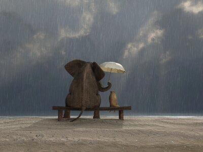 Sticker Elefant und Hund sitzen unter der regen