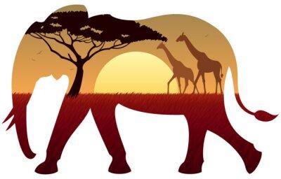 Sticker Elefanten-Landschaft