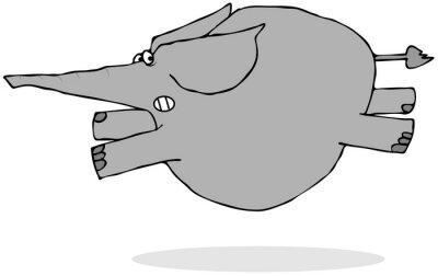 Sticker Elefanten laufen erschrocken