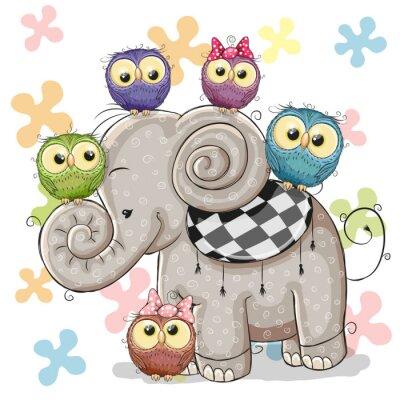 Sticker Elefanten und Eulen