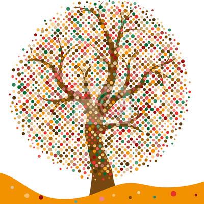 Elegant frame with stylized autumn tree