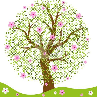 Elegant frame with stylized spring tree