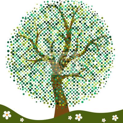 Elegant frame with stylized summer tree