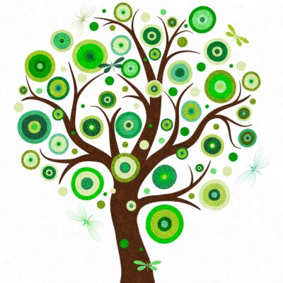 Elegant frame with stylized tree with multicolored polka dots