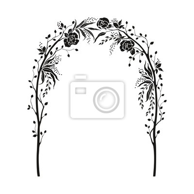 Elegant tender arch with flowers roses, tree branches and leaves. Vector illustration for greeting and invite card. Floral silhouette design.